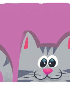 Postal gato morado